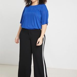 New ELOQUII Striped Blouson Top (Plus Size) BLUE